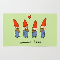gnome Area & Throw Rugs featuring Gnome Love by Sophie Corrigan