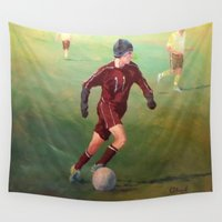 soccer Wall Tapestries featuring Soccer by Karen Pettengill