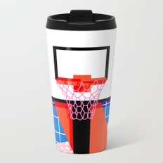Baller - memphis retro grid neon pattern minimal basketball sports athletic art print Metal Travel Mug