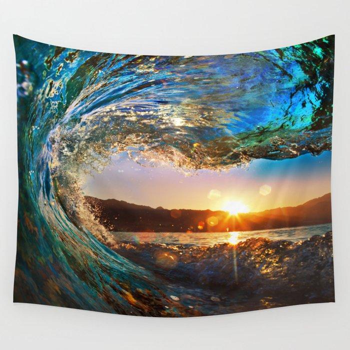 Beach Waves Ocean Sun Wall Tapestry By Rosemarya