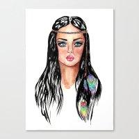 hippie Canvas Prints featuring hippie by knutsie
