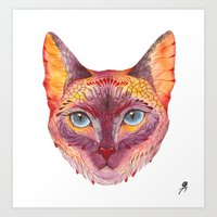 cat coquillette Art Prints featuring cat by Ola Liola