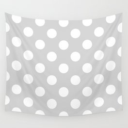Light gray - grey - White Polka Dots - Pois Pattern Wall Tapestry