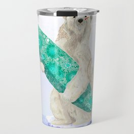 Polar bear & Surf (green) Travel Mug