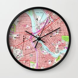 Vintage Map of Cedar Rapids Iowa (1967) Wall Clock
