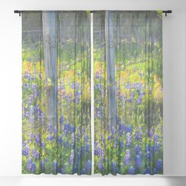 Country Living - Fence Post and Vines Among Bluebonnets and Indian Paintbrush Wildflowers Sheer Curtain