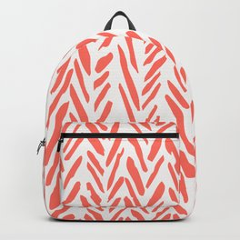 Boho mudcloth herringbone pattern - living coral Backpack