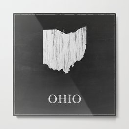 Ohio State Map Chalk Drawing Metal Print
