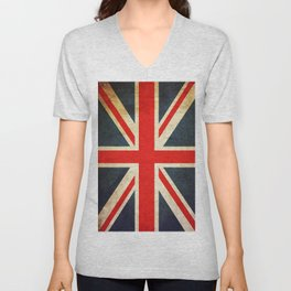 Vintage Union Jack British Flag Unisex V-Neck