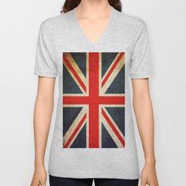 Vintage Union Jack British Flag Unisex V-Neck