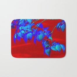 Red Sky And Blue Leaves Bath Mat