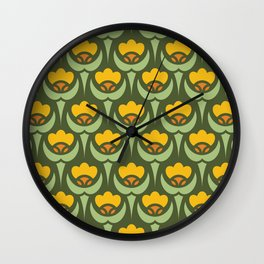 Art Deco Floral 001 on Green Wall Clock