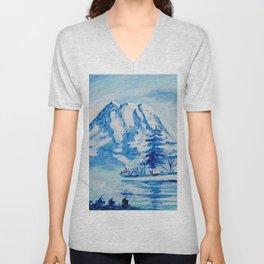 Winter Mt. Rainier Unisex V-Neck