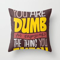 internet Throw Pillows featuring Internet Comments by Chris Piascik