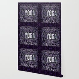 Yoga Asanas / Poses Sanskrit Word Art  Pearl on amethyst Wallpaper