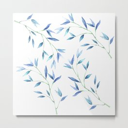 Blue watercolor branch Metal Print