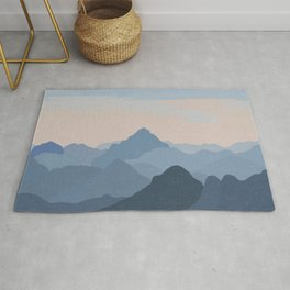Pastel Sunset over Blue Mountains Rug