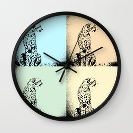 Pop Art Pastel Cheetah - Help fund education for impoverished kids in Malawi, Africa.  #MoreThanAid. Wall Clock