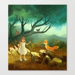 Girl and Fox Canvas Print