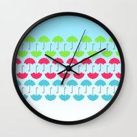 umbrella Wall Clocks featuring Umbrella by hannahclairehughes