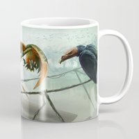 snatch Mugs featuring Birds in Chase by Ryan James Art