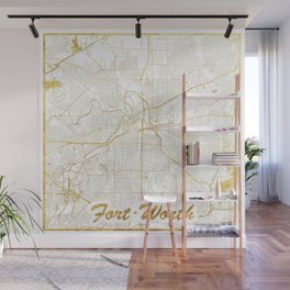 Fort Worth Map Gold Wall Mural