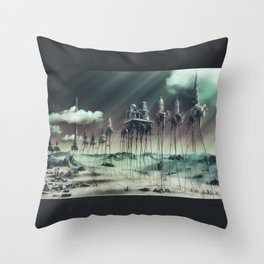 -Caravan Dali- GREEN Throw Pillow