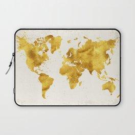 24 Karat World, faux gold world map Laptop Sleeve