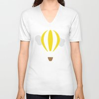 hot air balloon V-neck T-shirts featuring Hot Air Balloon Illustration by Rachel J