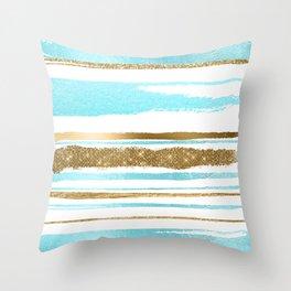 Turquoise Gold Stripes Throw Pillow