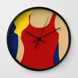 Red Swimsuit Blond Hair Wall Clock
