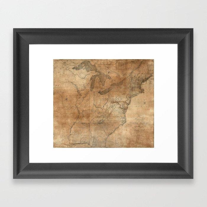 Vintage United States Map 1806 Framed Art Print By Bravuramedia
