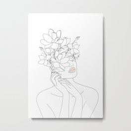 Minimal Line Art Woman with Magnolia Metal Print