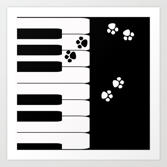 The keys of the piano . Creative black and white pattern . Art Print