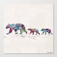 bears Canvas Prints featuring Bears by Watercolorist