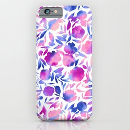 Watercolor Floral Papercut Pink Blue Purple on White iPhone Case