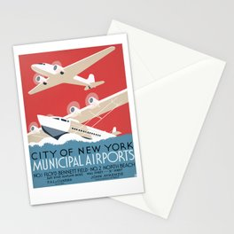 Vintage Airplane Art - City of New York Municipal Airports Stationery Cards