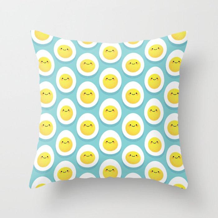 Cute hard boiled eggs Throw Pillow
