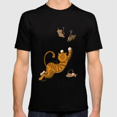 Cat and Mouse MEDIUM Black Mens Fitted Tee