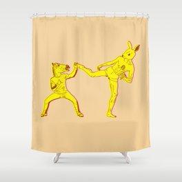 Horse-Dude versus Kick-Bunny Shower Curtain