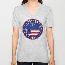 Nevada, USA States, Nevada t-shirt, Nevada sticker, circle Unisex V-Neck