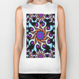 Tiled Swirly fractal pattern in purple, blue, orange and cream Biker Tank