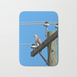 Red Tailed Hawk on Telephone Pole 2 Bath Mat