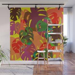 multicolored monstera Wall Mural