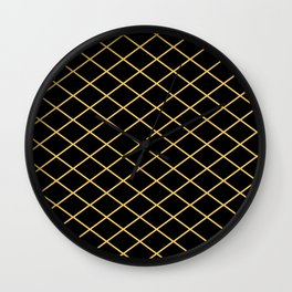 Diamond Lines - Gold Wall Clock