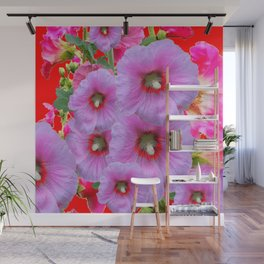 LILAC HOLLYHOCKS WITH RED COLOR ACCENTS Wall Mural