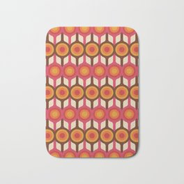 Magenta, Orange, Ivory & Brown Retro 1960s Circle Pattern Bath Mat