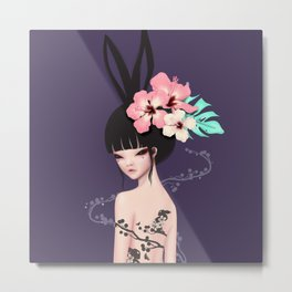 black bunny Metal Print