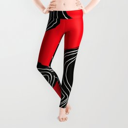 Parallel Lines No.: 02. in Red - White Lines Leggings
