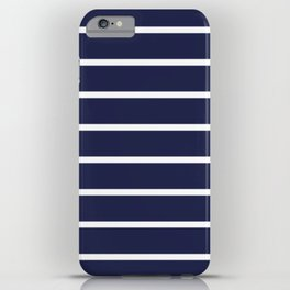 Navy White Stripe Pattern iPhone Case
